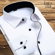 ESEA new arrival 2017 high quality classic twill business men's shirts long sleeve turndown collar plus size 4xl dress shirt