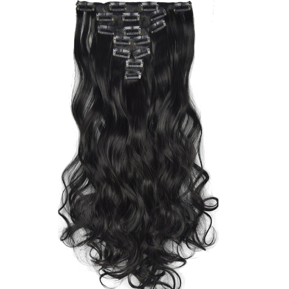 TOPREETY Heat Resistant B5 Synthetic Fiber 130gr 20 50cm Wavy Clip in hair Extensions 7pcs/set 90 Colors Available