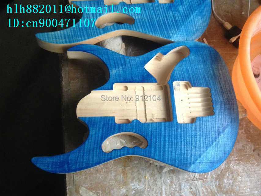 new semi-finished  electric guitar body  in blue with sticking tiger stripes without paint  F-1948+foam box+free shipping  цены онлайн