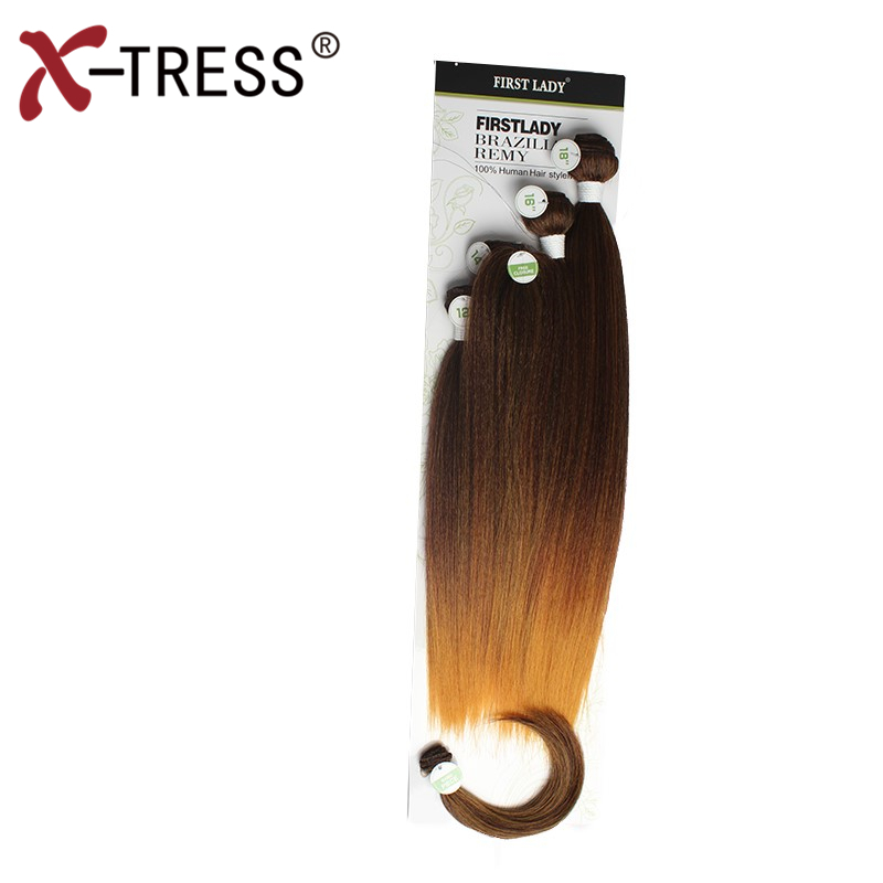 X-TRESS 12-18inch Yaki Straight Ombre Hair Weaves Synthetic Hair 4Bundles With Free Closure Bang Full head Sew in hair Extension