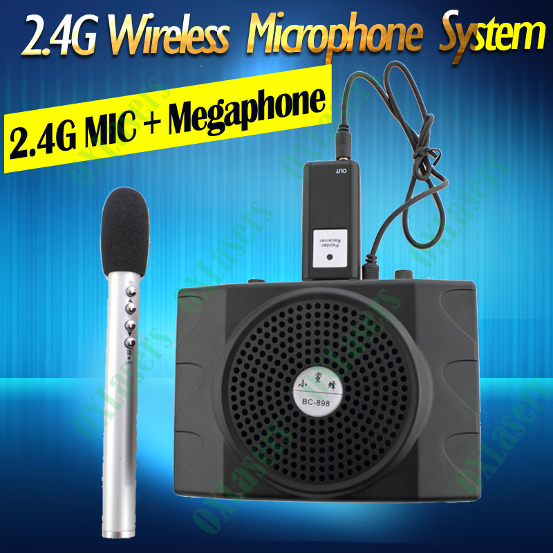 OXLasers 2.4G mini portable wireless microphone system with megaphone for conference, teacher and tour guide free shipping portable professional 2 4g wireless voice amplifier megaphone booster amplifier speaker wireless microphone fm radio mp3 playing