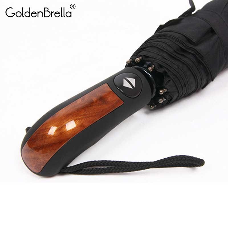 Brand 10 Ribs Strong Windproof Umbrella For Men 3Folding Automatic Quality Wood Handle Umbrella Rain Women Golf Car Parasol Gift