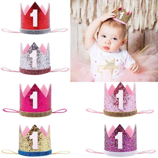 1pc Baby Girl Birthday Party Hats 1st Caps First Princess Crown Decorations Kids Favors Pink Headband A20
