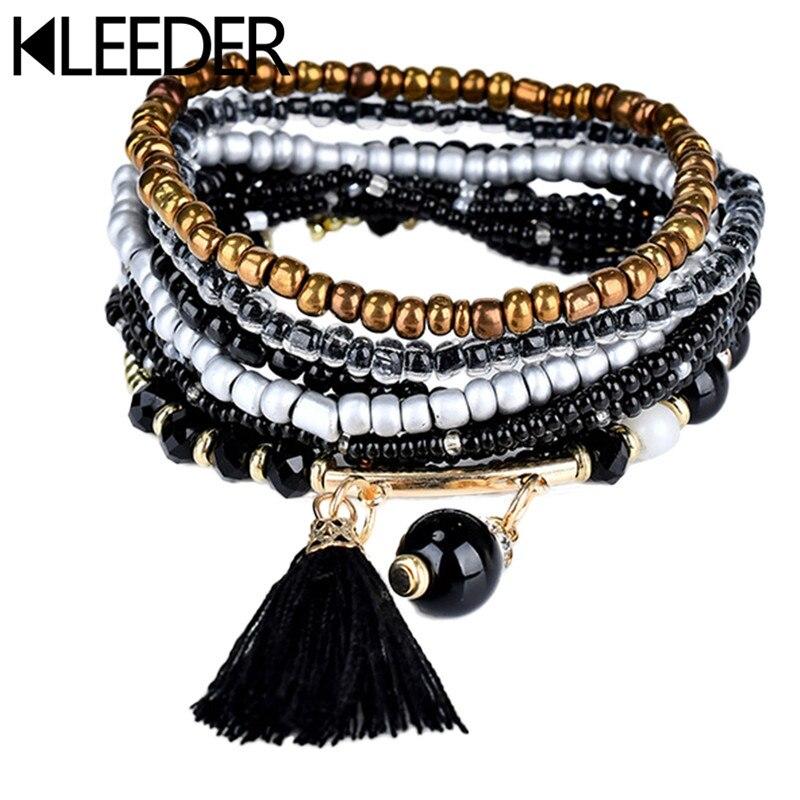 KLEEDER 2018 New Bohemian Ethnic multilayer Vintage beads Bracelets Boho Statement Tassel Bracelet Bangles for Women Jewelry