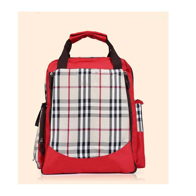 Portable Plaid Multi-function Mummy Bags Shoulder Bags for Baby Care Bags Waterproof Wearable Diaper Pads Diaper Bags BackpacksPortable Plaid Multi-function Mummy Bags Shoulder Bags for Baby Care Bags Waterproof Wearable Diaper Pads Diaper Bags Backpacks
