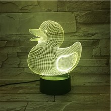 Animal Duck 3D Lamp Touch Sensor 7 Color Changing Bedroom Decorative Child Kids Baby Kit Nightlight Led Night Light