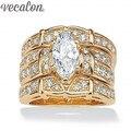 Vecalon Классический Ювелирные Изделия Маркиза Cut 2ct Cz алмаз Обручальное кольцо Комплект прокладок для Женщин 14KT Желтого Золота Заполненные Enagement кольцо подарок