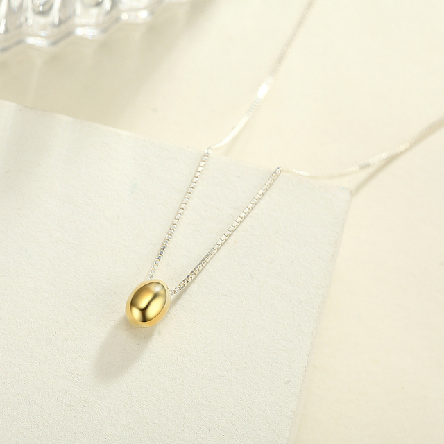 Female 925 sterling silver rhodium plating necklace lucky golden female 925 sterling silver rhodium plating necklace lucky golden egg shape drop pendants gift souvenir for mozeypictures Gallery