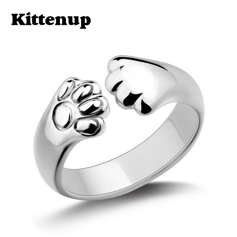 Kittenup Cute Dog Cat Paw Ring for women New Fashion Silver Color Claw Jewelry