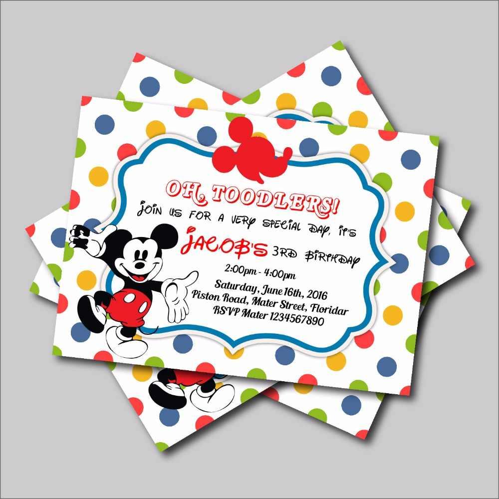14 Uds Unids Lote Mickey Mouse Invitaciones De Cumpleaños