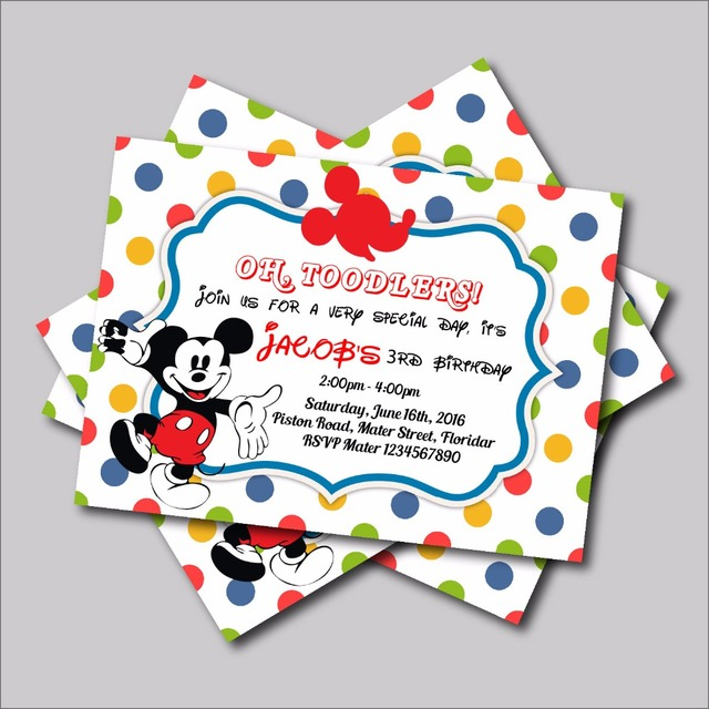 Us 5 57 38 Off 20 Pcs Lot Mickey Mouse Birthday Invitations Mickey Baby Shower Invites Mickey Birthday Party Decoration Supply Free Shipping In