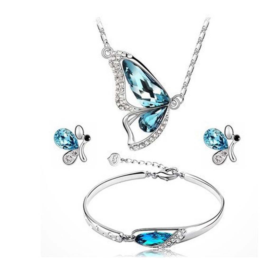 2018 Butterfly Jewelry Sets Necklace + Earring+Bracelet Crystal Set Fashion Jewelry Gir Women Gift Wedding Party Event Jewelry
