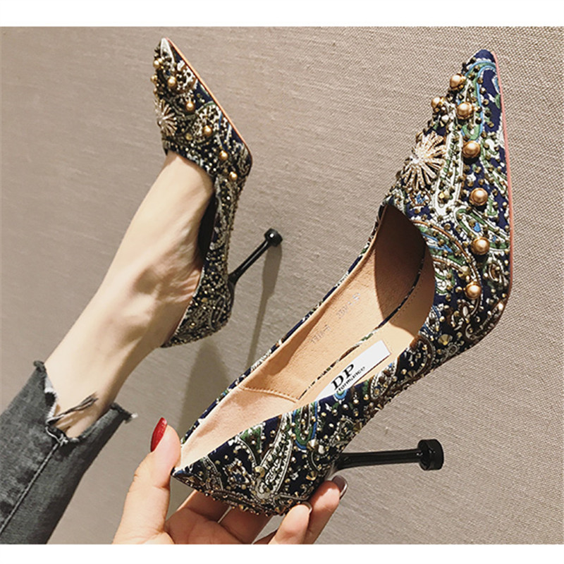 Spring Women's Pumps Shoes Sexy Ultra high heels Pointed Toe Ladies Shoes bead Colorful Cloth Thin Heels Female Party Shoes