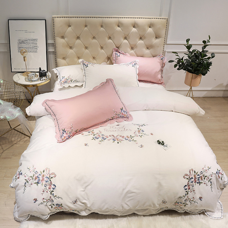 White pink Egyptian cotton embroidery luxury Bedding Set queen size king duvet cover bed sheet fitted