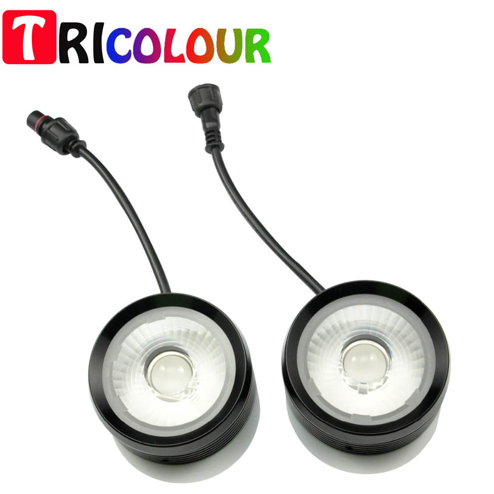 TRICOLOUR 20W DRL Eagle Eyes Cow Eye Fog Light Daytime running lights for Universal Car Screw Style Super Bright white #TM25 leadtops car led lens fog light eye refit fish fog lamp hawk eagle eye daytime running lights 12v automobile for audi ae