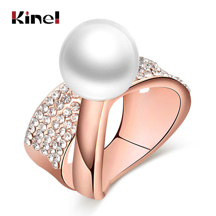 Kinel White Pearls Ring For Women Fashion Design Rose Gold Pave Setting Crystal Cocktail Rings Statement Vintage Jewelry Gift