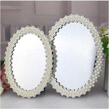 Espejo de pie de estilo europeo de lujo, mesa de tocador, espejo de maquillaje vintage, espejo de mano, espejo de maquillaje de escritorio, espejo vintage j015