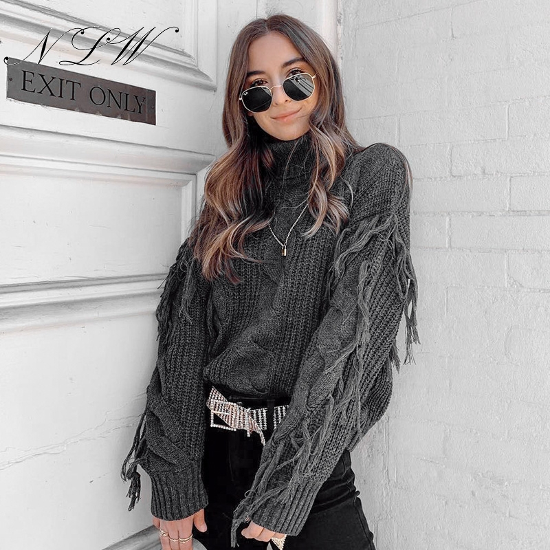 NLW Oversize Sweater Jumper Tassel Grey Turtleneck Loose White Casual Women Chic Mujer