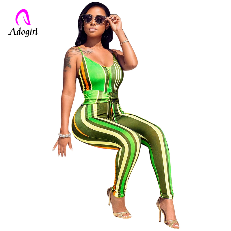 Rainbow Striped Jumpsuit Off Shoulder Rompers Women Summer Beach Sexy Strap Long Playsuits Backless Bandage Overalls 2XL
