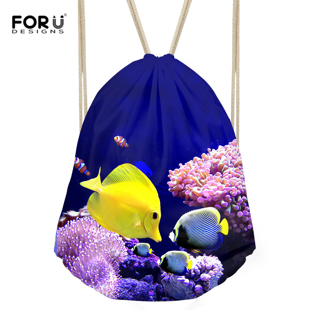 FORUDESIGNS Drawstring Backpacks Cute Fish Pattern Travel Softback Man Women Harajuku Bags Shark Clothing Storage Drawstring Bag