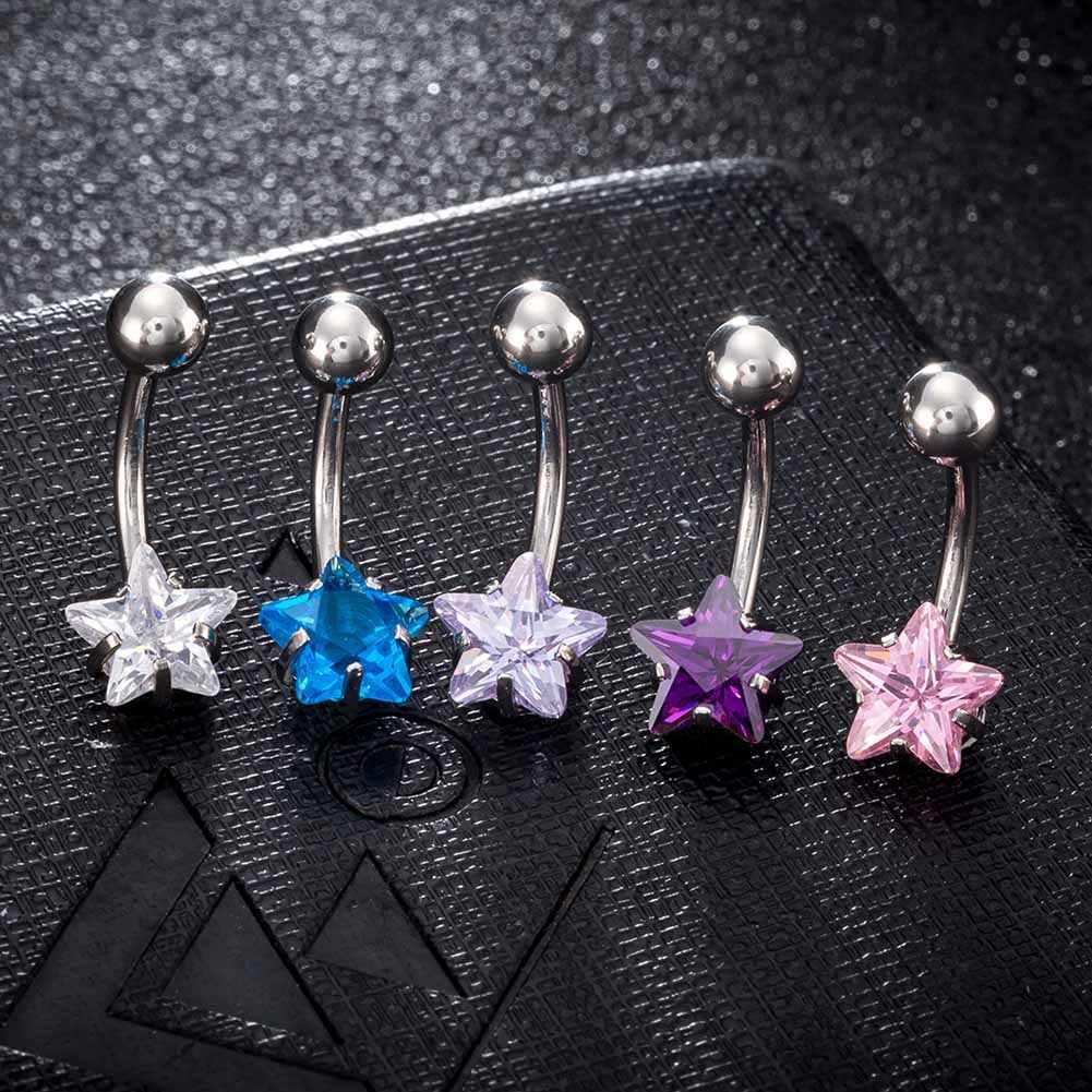 חמש נקודת כוכב אופנה טבור פירסינג ריינסטון טבור טבעת נירוסטה פירסינג תכשיטי גוף עגיל בטבור טבור