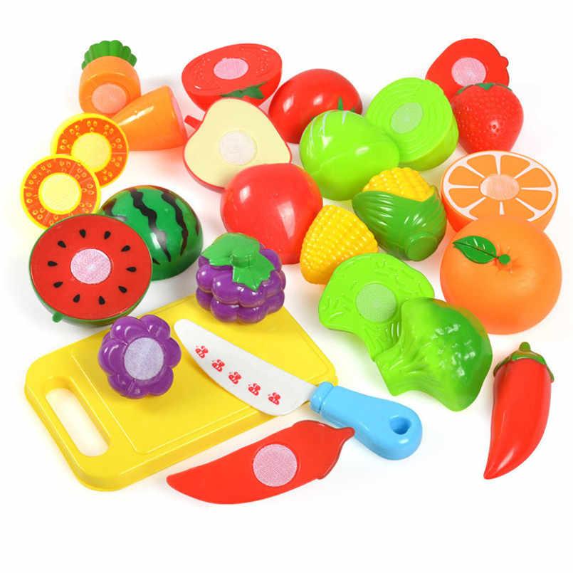 36PCS Anak Dapur Mainan Keranjang Belanja Set Pemotong Buah Sayuran Makanan Plastik Kit Berpura-pura Bermain Awal Mainan Pendidikan anak-anak