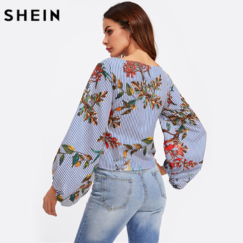 SHEIN Exaggerated Lantern Sleeve Belted Mixed Print Blouse Womens Long Sleeve Tops Autumn Blue Striped Floral Blouse 1