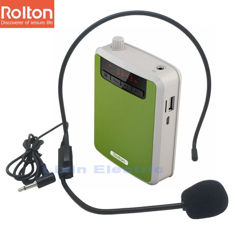Rolton K300 Amplificador de Voz Portátil Clip de Banda de Cintura con Radio FM TF Reproductor de MP3 Banco de energía para guías de viaje Micrófono de enseñanza