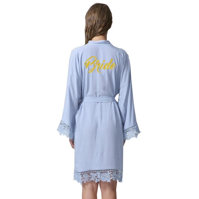 2018 New bride Cotton Kimono Robes With Lace Trim Women Wedding Bridal Robe Short Belt Bathrobe