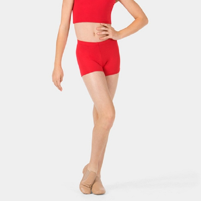 Girls Gymnastic Mid Waisted Red Shorts Dance For Dancewear Lycra Spandex Dance Booty Shorts Toddler Workout