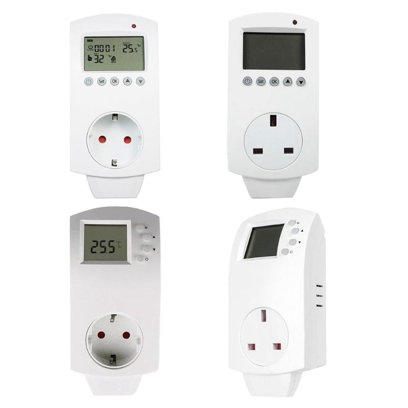 купить Multi-function Thermostat Plug in Socket Electric Heating Temperature Controller LCD Display Thermoregulator EU/UK Plug 16A 230V по цене 1175 рублей