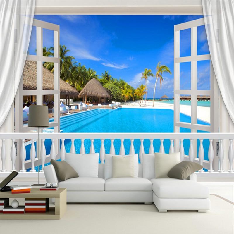 Nach Wandbild Foto Tapete 3D Stereoskopischen Fenster Malediven