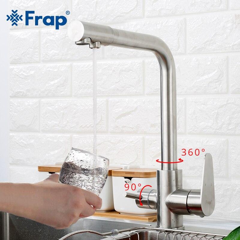 Frap кухонный кран с фильтрованной водой 304 нержавеющая сталь смеситель питьевой кран Кухня Раковина кран torneira para cozinha F4348