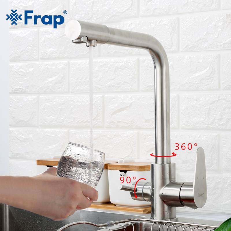 Frap Kitchen Faucet With Filtered Water 304 Stainless Steel Mixer Drinking Faucet Kitchen Sink Tap Torneira Para Cozinha F4348