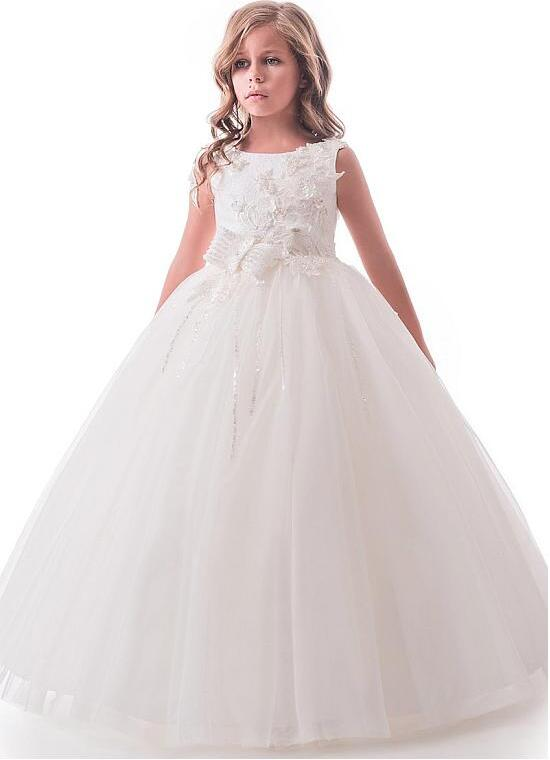 Romantic Bateau Neckline Communion Gown Floor-length Ball Gown Flower Girl Dresses With 3D Beaded Lace Appliques & Bowknot