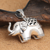 Sterling Silver Winter Sweater Chain Thai Silver Restoring Ancient Ways Three Dimensional Elephant Pendant Female Personality