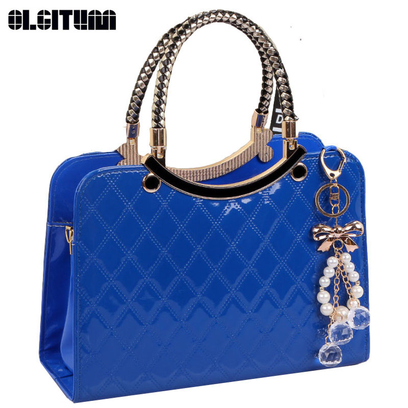OLGITUM New Fashion Bag Cute Tote 2018 New Popular Large PU Leather Tote Shoulder Bag Handbag Lady Messenger chain Plaid HB011