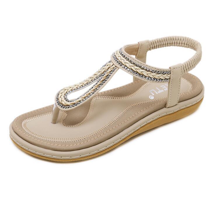 HTB1pM0saVP7gK0jSZFjq6A5aXXap Summer Shoes Women Bohemia Ethnic Flip Flops Soft Flat Sandals Woman Casual Comfortable Plus Size Wedge Sandals 35-45
