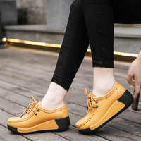 MANLI Women Shoes Sneaker Ballet Genuine Leather Flat Platform Walking Shoes Slip On Female Women's Loafers mocasines mujer