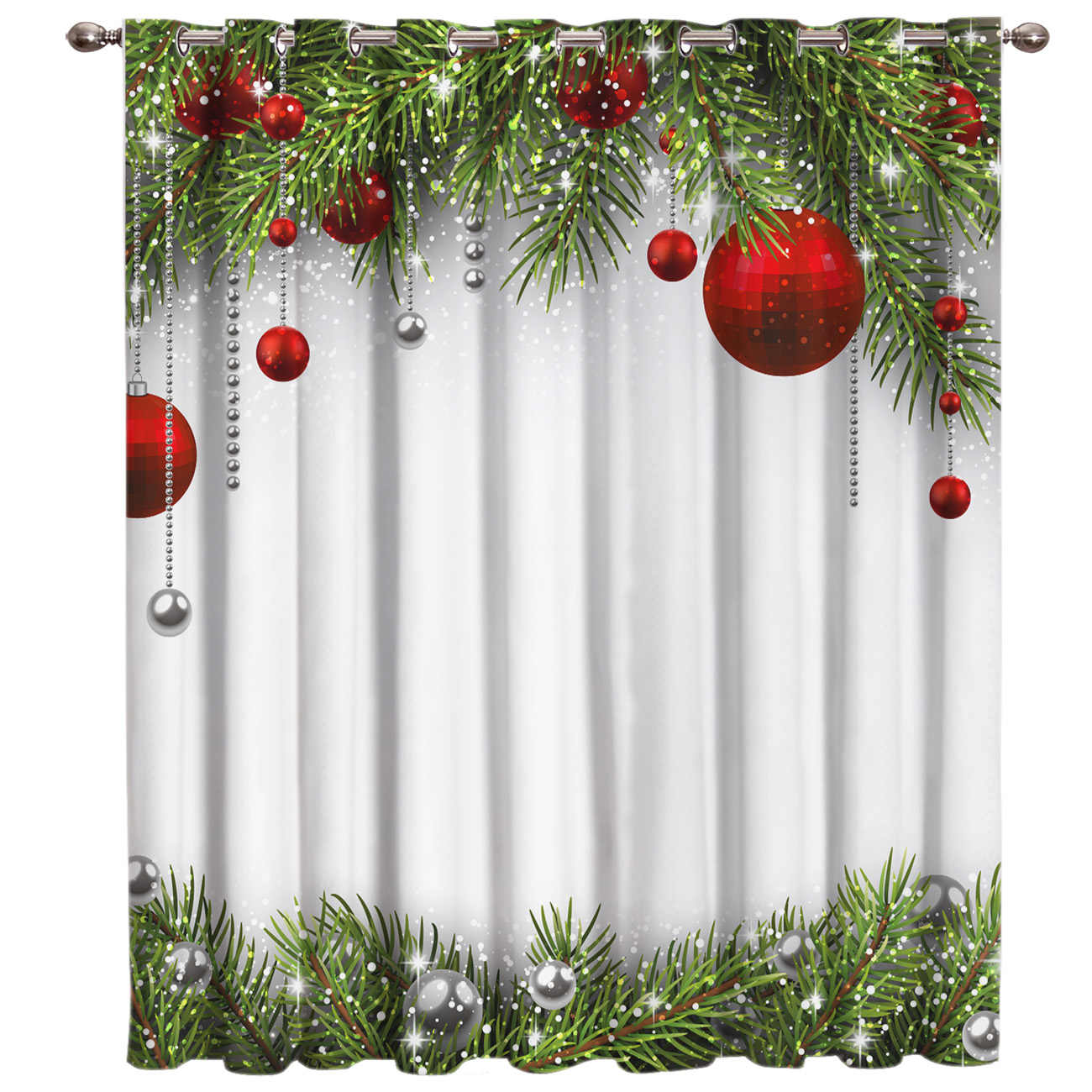 Snowing Winter Christmas Holiday Room Curtains Large Window