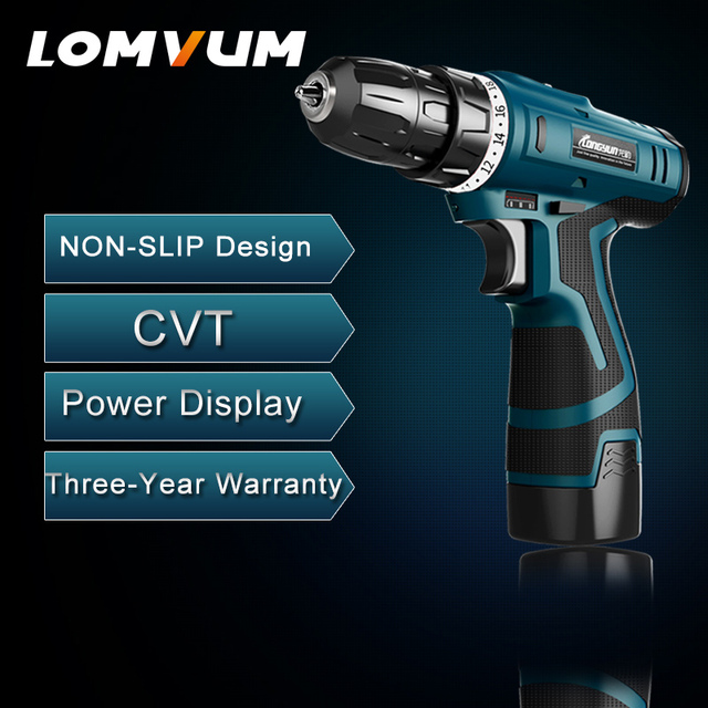 LOMVUM New Arrivals Electric Screwdriver Multifunction Power Tools Electric Drill WaterProof Rechargeable Mini Cordless Drill   1