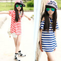 Girls Chiffon Open Shoulder T-Shirt Long Stripes Tee for Kids Teenage Girls Fashion Tops Red Blue