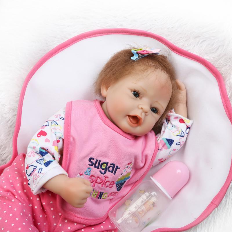 52 cm hecho a mano bebé Reborn muñeca de silicona vinilo realista niños Playmates niña princesa Rosa muñeca niños regalos de cumpleaños - 4