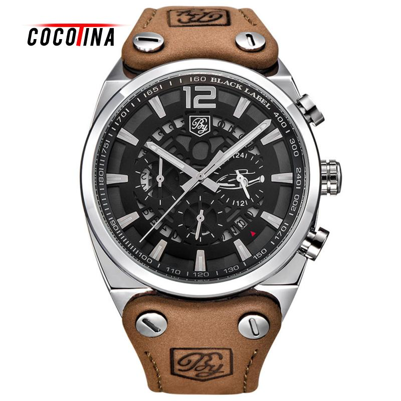 COCOTINA Luxury Brand Sport Mens Watches Fashion Military Waterproof Leather Quartz Watch Clock LSB1482