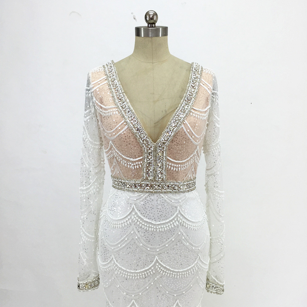 Champagne sjöjungfru snörning brudklänning 2017 Backless Vestidos - Bröllopsklänningar - Foto 6