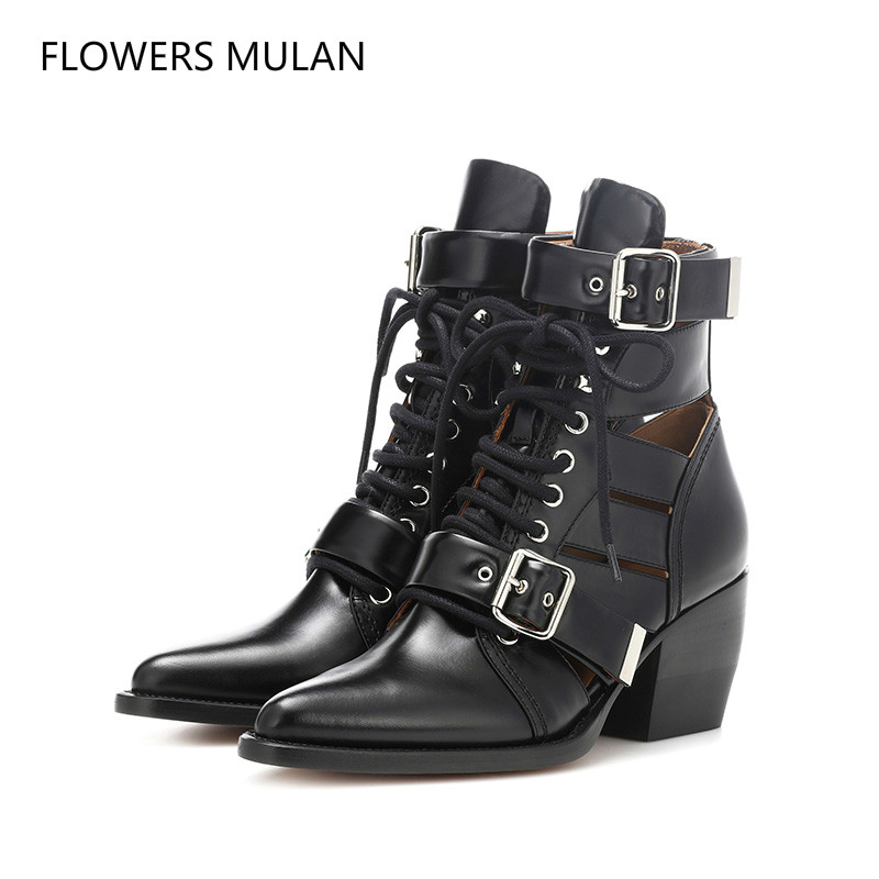 Fashion Cut Outs Buckled Ankle Boots Women Genuine Leather Chunky High heels Punk Martin Boots Gladiator Pointy toe autumn Shoes