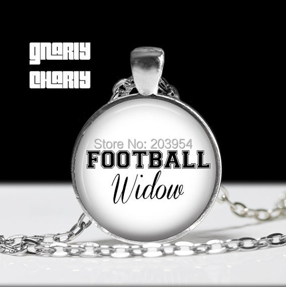 Vintage simple Steampunk movie Football Widow sport fans 78cm long chain Necklace 1pcs/lot bronze steel Glass Pendant jewelry image