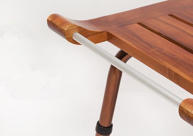 Solido legno di teak sgabello panca con lega di alluminio gambe