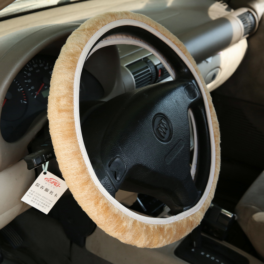 Drop Shipping 1 pc Charm Warm Long Wool Fur Plush car Steering Wheel Cover woolen Car Handbrake Accessory hot selling