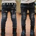 2017 Модные мальчики джинсы весна дети случайные буквы карман на молнии джинсы длинные брюки брюки